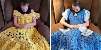 Háčkované prikrývky v tvare šiat pre princezné   Carol Hladik