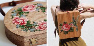 Drevené kabelky a batohy s výšivkou   Handmade tvorba GRAV GRAV
