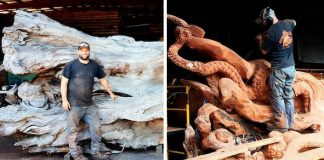 Socha chobotnice zo spadnutého stromu vyrezaná motorovou pílou