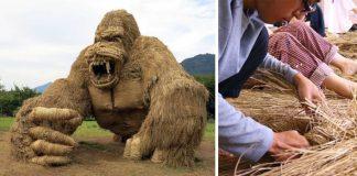 Slamené sochy zvierat po ryžovej žatve | Wara Art Festival v Japonsku