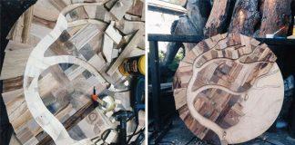 Mozaikový stôl z 12 druhov dreva a keramiky | Alexey Steshak