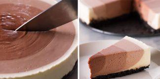 Nepečený čokoládový ombre cheesecake so 4 rôznymi vrstvami krému