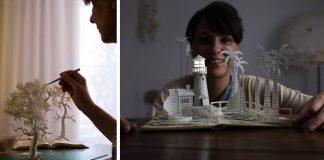 Papierové miniatúry z upcyklovaných kníh | Malena Valcárcel