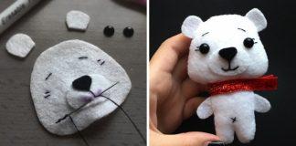 Polárny medvedík z filcu | Detailný návod ako postupovať pri tvorbe hračky
