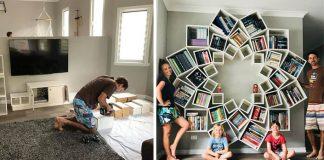 Vlastná knižnica v tvare lotosového kvetu | Kreatívny DIY nápad