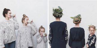 Kreatívna mamina a jej dve dcéry sa bavia fotením v rovnakom oblečení