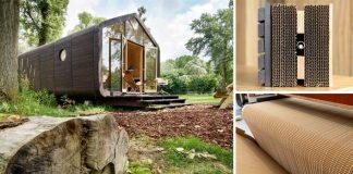 Dom z kartónu vyrobený z 24 vrstiev kartónu | Eko bývanie Wikkelhouse