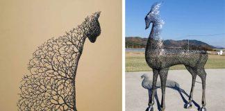 Sochy zvierat sú pokryté konármi, ktoré Kang Dong Hyun vytvára z kovu