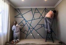 Maľovanie geometrických tvarov na stene   DIY nápad ako vymaľovať