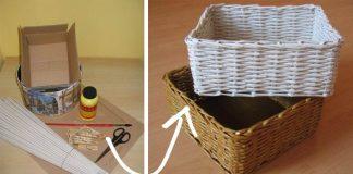 Košík pletený z papiera | Návod na pletenie košíka z papierových ruličiek