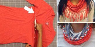 Šál zo starého trička | Nápady a návody ako premeniť staré tričká na šály