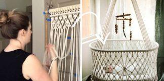 15+ nápadov na závesné detské kolísky pletené technikou macramé