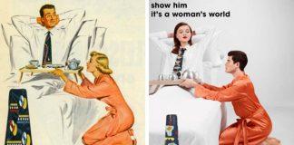 Eli Rezkallah pretvoril vintage reklamy výmenou mužských úloh za ženské