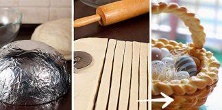 Pletený veľkonočný košík z kysnutého cesta | Recept a postup