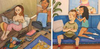 Úprimné ilustrácie zobrazujú, ako vyzerá láska za zatvorenými dverami