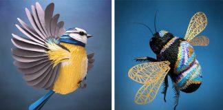 Sochy z papiera v podobe vtákov, včiel a iných zvierat | Lisa Lloyd
