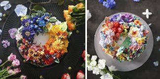Kvetinové torty zdobené kvetinami z maslového krému | Atelier Soo