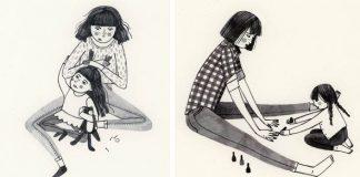 Ilustrácie zobrazujúce jedinečné puto medzi mamou a dcérou