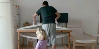 Hojdacia sieť pre deti zo šatky na nosenie | Nápad na hojdačku pod stolom