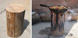 Varič z kmeňa stromu | DIY nápad na záhradný či táborový spôsob varenia