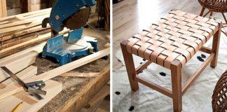 Drevená taburetka s pleteným koženým sedením | Urob si sám