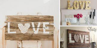 Valentínske dekorácie z dreva s romantickými nápismi