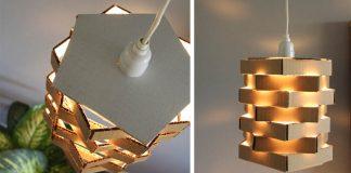 Závesné svietidlo z kartónu | DIY nápady ako premeniť kartón na tienidlo