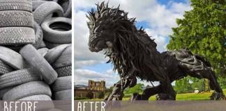 Yong Ho Ji | Sochy zvierat vyrobené zo starých pneumatík