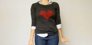 Vyšívané srdce krížikovaním | DIY návod na sveter s krížikovým stehom