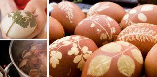 Veľkonočné vajíčka maľované cibuľovým odvarom a lístkami | Návod