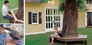 Lavička okolo stromu | Nápad a návod na netradičné záhradné posedenie