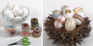 Veľkonočné vajíčka zdobené washi páskami | Nápad a návod