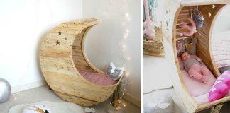 Detská kolíska v tvare mesiaca vyrobená z drevených paliet | Nápad