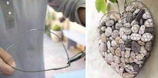 Návod, ako si vyrobiť srdce z kameňov a pletiva | Dekorácia, ktorá krásne vynikne na záhrade, terase či balkóne