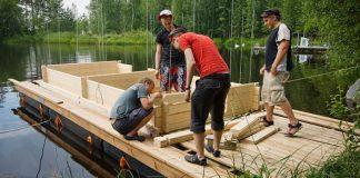Plávajúca mobilná sauna | Sauna na lodi Saunalautta