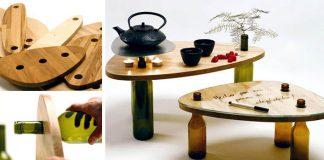 Stolíky vytvorené z dreva a sklených fliaš | Ekodizajn Tati Guimaraes