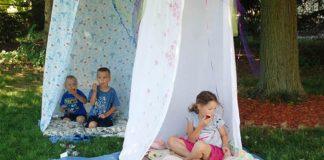 Stanovanie pod hola hoop | DIY nápad pre deti na záhradu