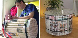 Nábytok vyrobený z novín | Kreatívny nápad, ako upcyklovať noviny