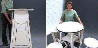 Stôl so vstavanými stoličkami od Joe Warren | Miesto šetriaci nábytok