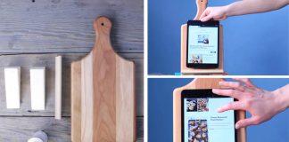 Kuchynský stojanna tablet v shabby chic štýle z lopára | DIY návod