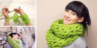 Ručne pletený šál máte hotový za 30 minút | Návod na kruhový infinity šál