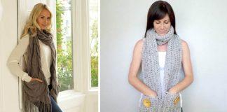 Šály s vreckami | 20+ nápadov na pletené šály s vreckami