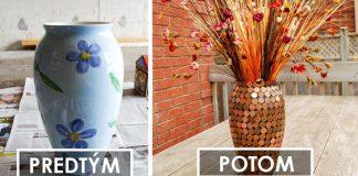 Váza zdobená mincami | Originálny DIY nápad a návod na dekoráciu
