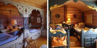 Tradičné nórske postele s ručne vyrezávanými výklenkami | Nápady