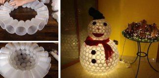 Snehuliak z plastových pohárov | Kreatívny DIY nápad a návod ako na to