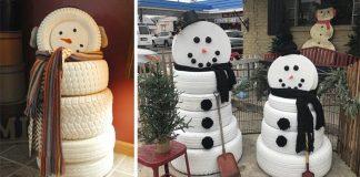 Snehuliak z pneumatík | Kreatívne nápady ako využiť staré pneumatiky