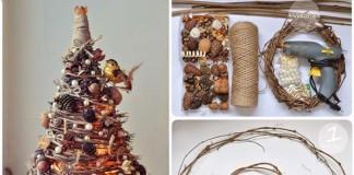 Dekoračný vianočný stromček z prútia