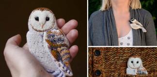 Výšivky vtákov na plstených brošniach | Paulina Bartnik