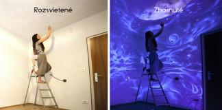 Žiariace nástenné maľby menia izby po zhasnutí svetla