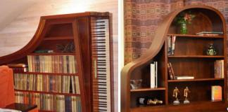 Nápady ako znovu využiť staré piano na policový regál